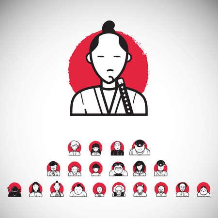 set of japanese people