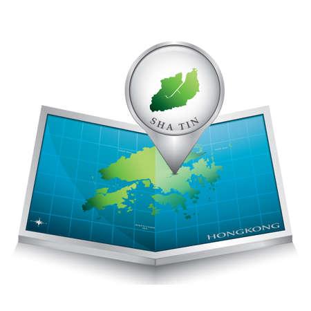 sha: navigation pointer indicating sha tin on hong kong map