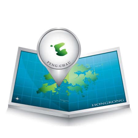 indicating: navigation pointer indicating peng chau on hong kong map