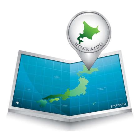hokkaido: map pointer indicating hokkaido on japan paper map