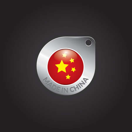 made in china: made in china flag tag Illustration