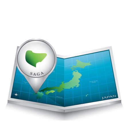 saga: map pointer indicating saga on japan paper map
