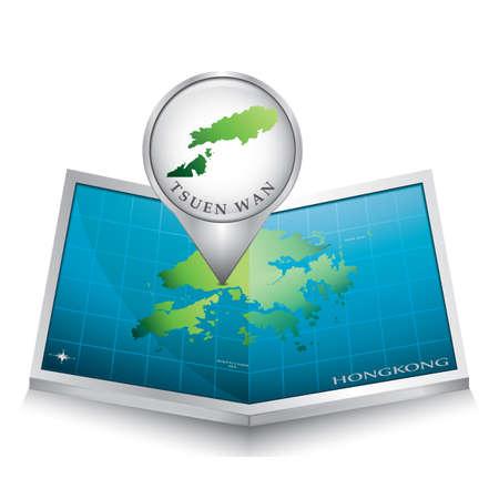 wan: navigation pointer indicating tsuen wan on hong kong map