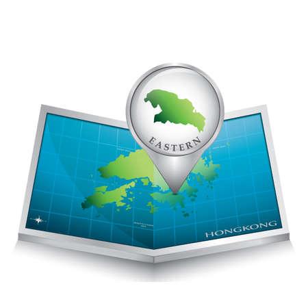 eastern: navigation pointer indicating eastern on hong kong map