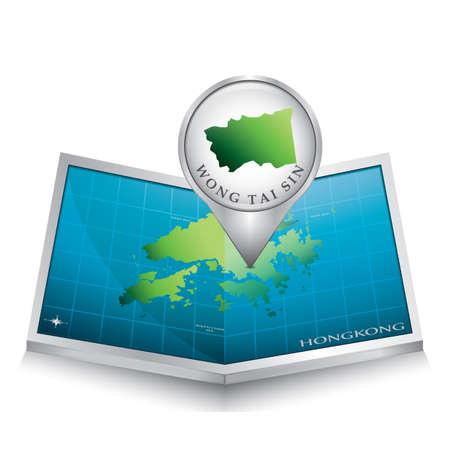 indicating: navigation pointer indicating wong tai sin on hong kong map