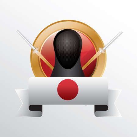 kendo: japan flag with kendo swords and costume