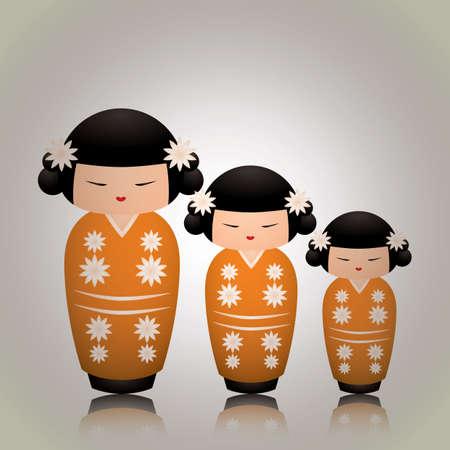playthings: japanese doll Illustration
