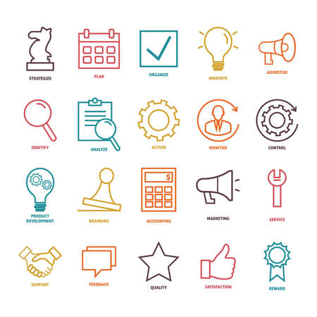 strategize: collection of business strategy icons