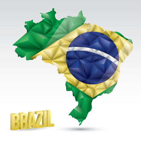 faceted: faceted brazil flag map