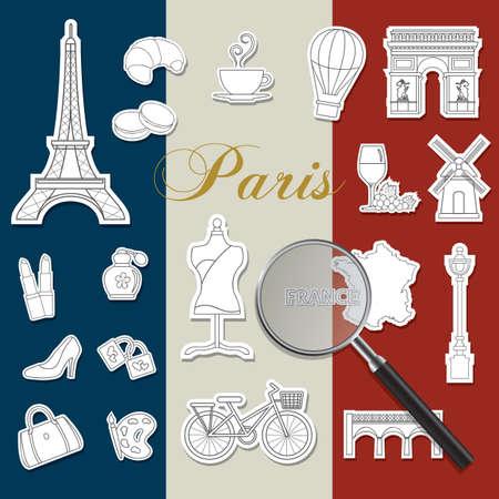 verzameling van Frankrijk pictogrammen op de vlag van frankrijk Stock Illustratie