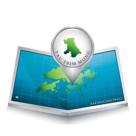 indicating: navigation pointer indicating yau tsim mong on hong kong map