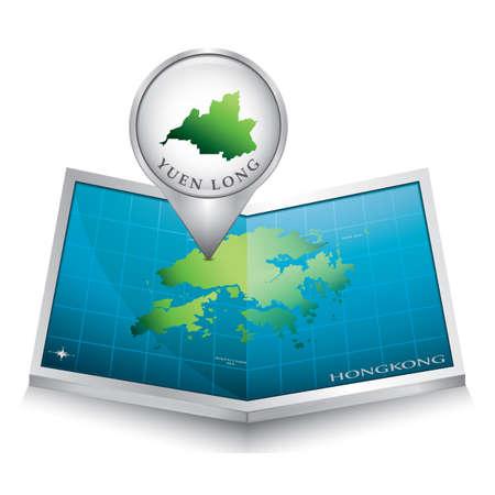 indicating: navigation pointer indicating yuen long on hong kong map Illustration