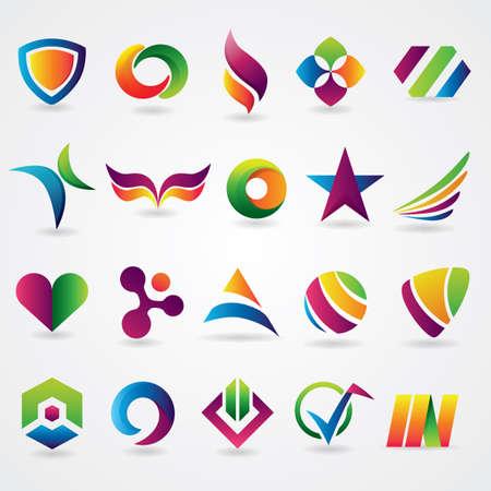 logo element: abstract icon set Illustration