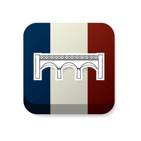 france flag: pont de larchevch on france flag Illustration