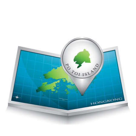 indicating: navigation pointer indicating po toi island on hong kong map