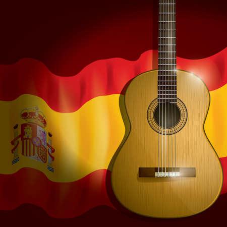 spain flag: spain flag with guitar