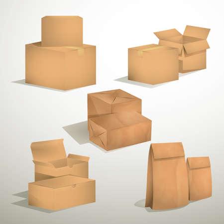 cajas de carton: conjunto de cajas de cart�n marr�n y bolsas