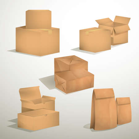 cardboard boxes: set of brown cardboard boxes and bags
