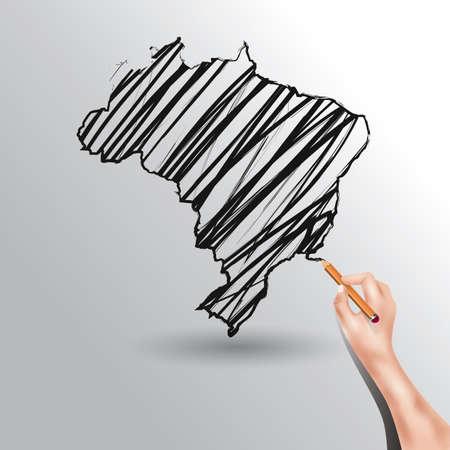 scribbling: brazil map