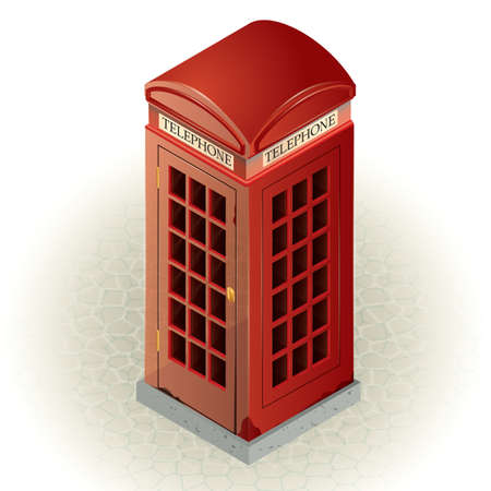 telephone booth: telephone box Illustration