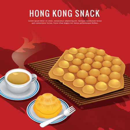 hong kong snack 矢量图像