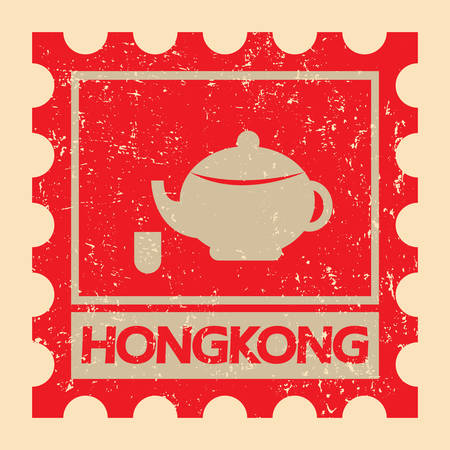 chinese postage stamp: teapot with cup Illustration