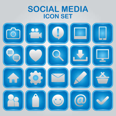 social media icon set Stock Illustratie