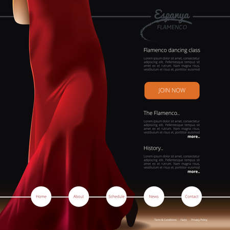 webpages: flamenco dance class website template Illustration