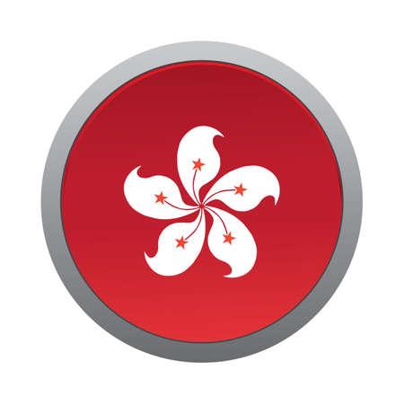 metal button: hong kong flag icon