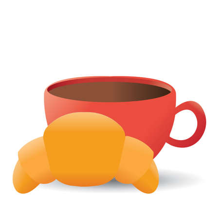 continental: tea with croissant Illustration