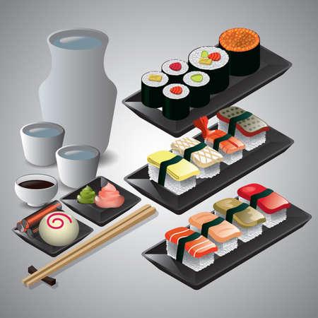 verzameling van Japans voedsel