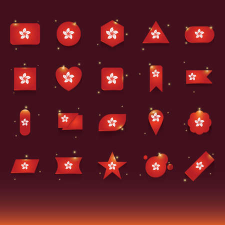 parallelogram: set of hong kong flag icons Illustration
