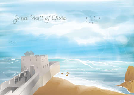 the great wall of china 向量圖像