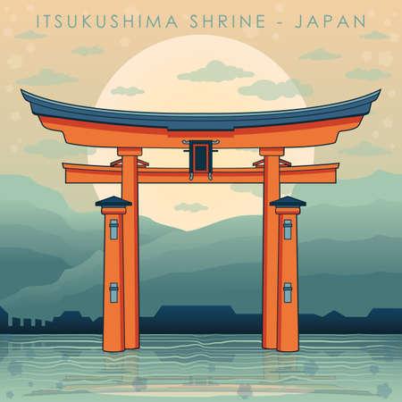 shinto: itsukushima shrine Illustration