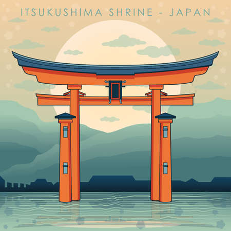 itsukushima shrine Illustration
