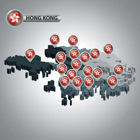 sha: hong kong map with territory map pointers