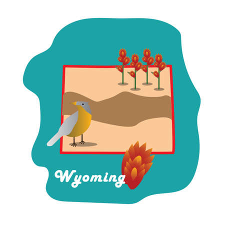 plains: wyoming state map with plains cottonwood Illustration