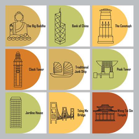 set of hong kong landmarks