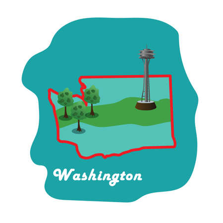 washington state: washington state map with washington space needle