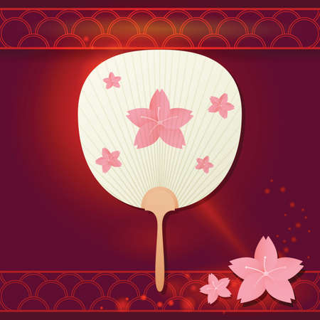 japanese fan: japanese fan with sakura flower