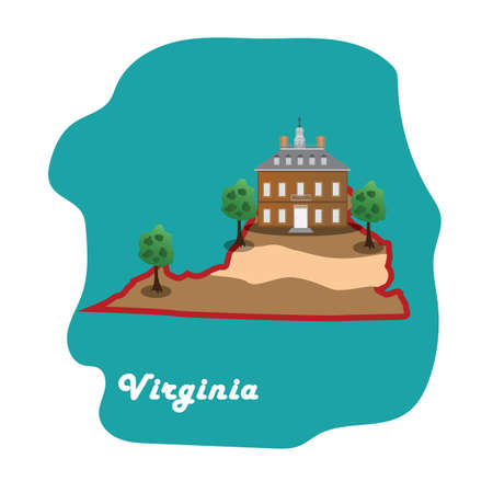 virginia state map with colonial williamsburg