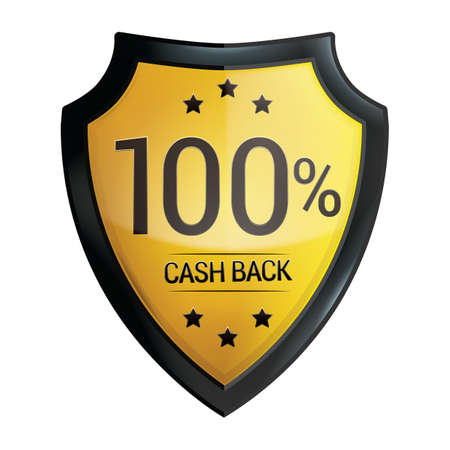cash back: 100 percent cash back label Illustration
