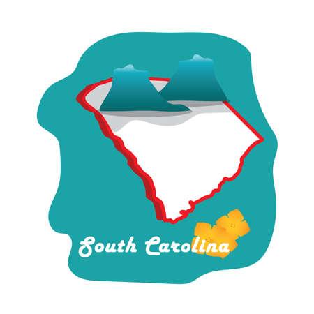 jessamine: South Carolina State mappa con Carolina gelsomino giallo Vettoriali