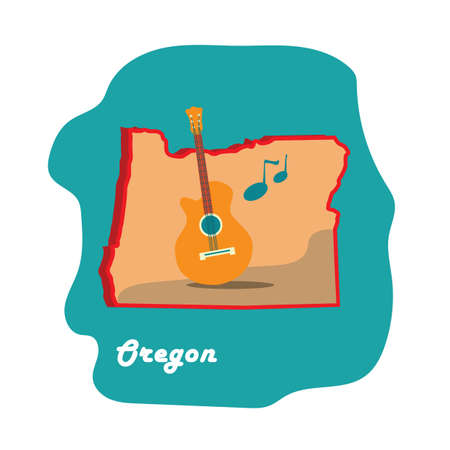 oregon: oregon state map with music