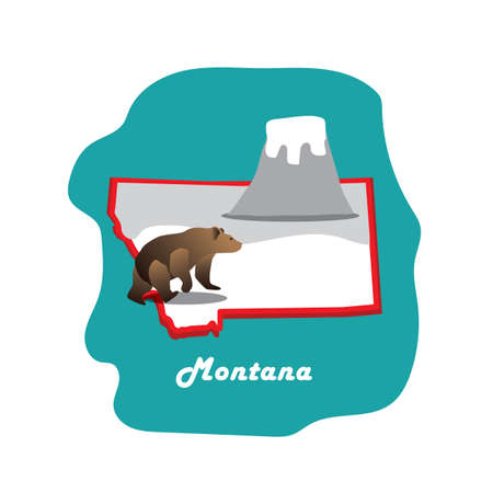 montana: montana state map with grizzly bear Illustration