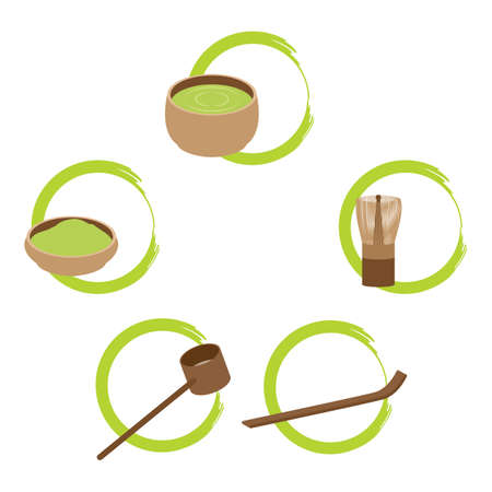 tea ceremony: japanese tea ceremony tools Illustration
