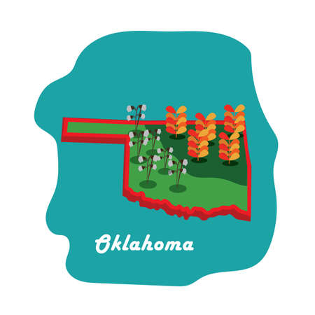 corn fields: oklahoma state map with cotton and corn fields