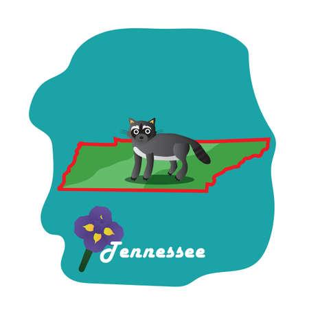 tennessee: Mapa del estado de Tennessee con el iris