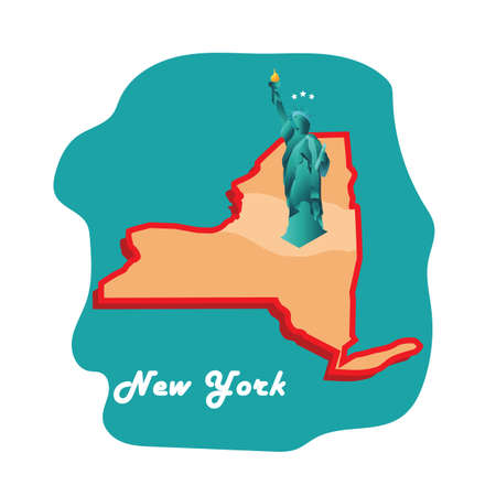 new york state: new york state map with statue of liberty Illustration