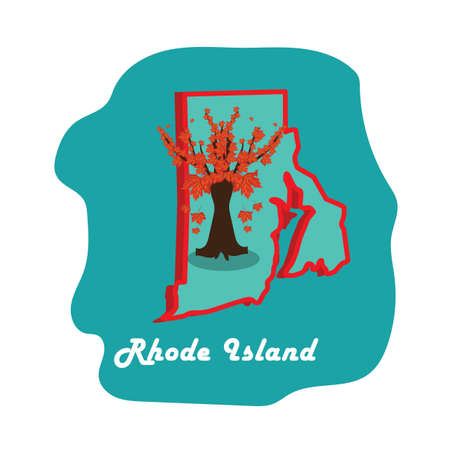 island state: rhode island state map with red maple